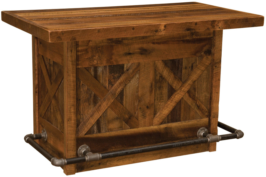 Barnwood Bar - 5 Foot with Artisan Top - Laminate Top - Standard Finish-Rustic Deco Incorporated
