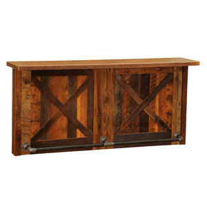 Barnwood Bar - 7' Artisan Bar Tops - Refrigerator Opening - Sink Cabinet - Rustic Deco Incorporated