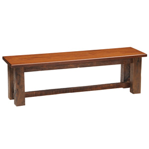 Barnwood Bench - 36, 42, 48, 60, 72-inch - Antique Oak Seat Top - Rustic Deco Incorporated