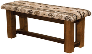 Barnwood Bench with Upholstered Seat - 48, 60, 72-inch - Rustic Deco Incorporated