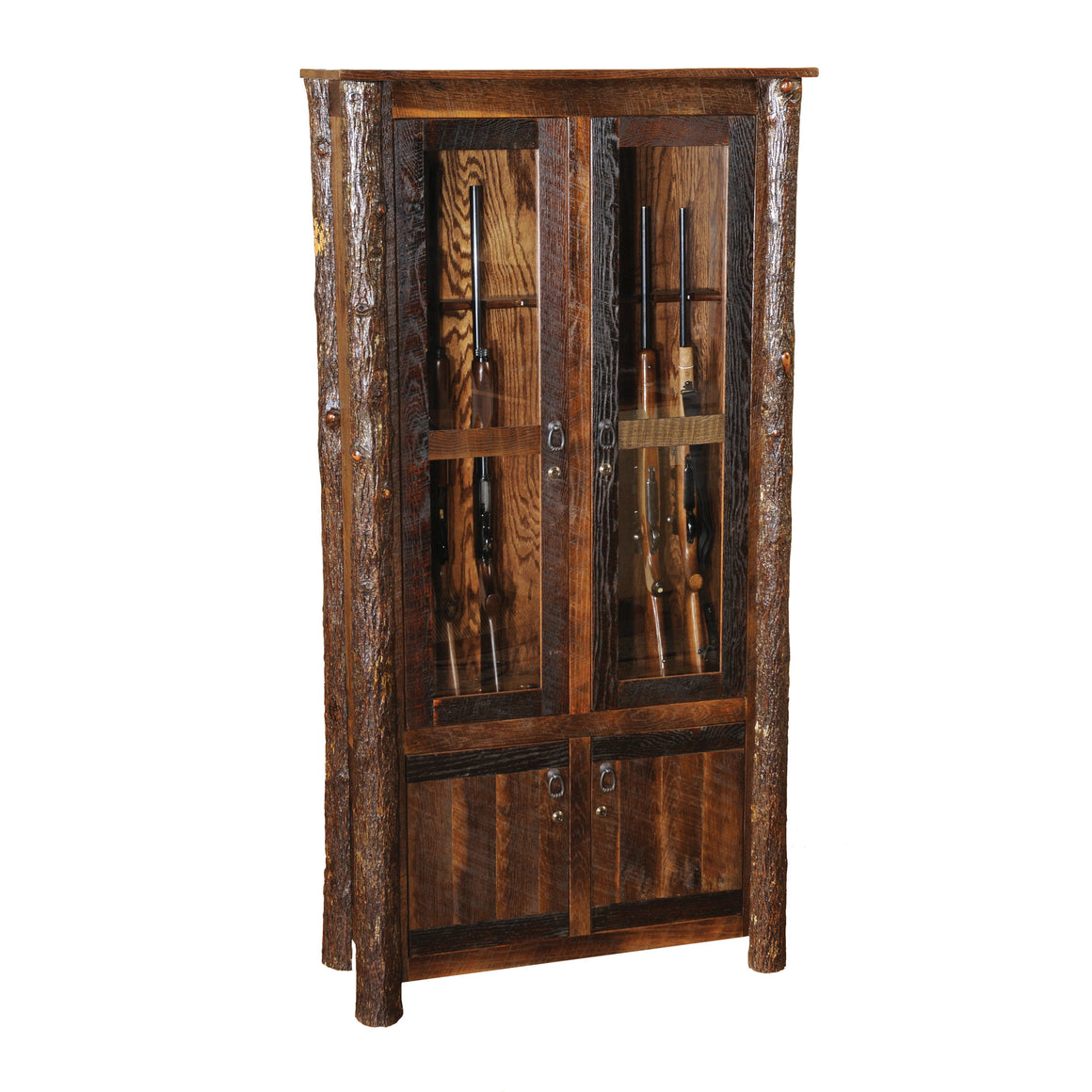Barnwood Eight Gun Cabinet - Reclaimed Antique Oak Tobacco Barn Wood - Rustic Deco Incorporated