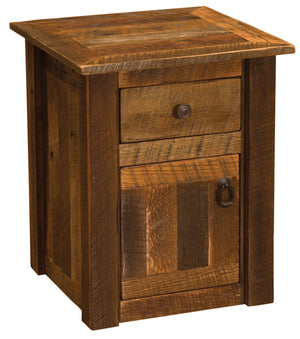 Barnwood Enclosed End Table - Reclaimed Antique Oak Tobacco Barn Wood - Rustic Deco Incorporated