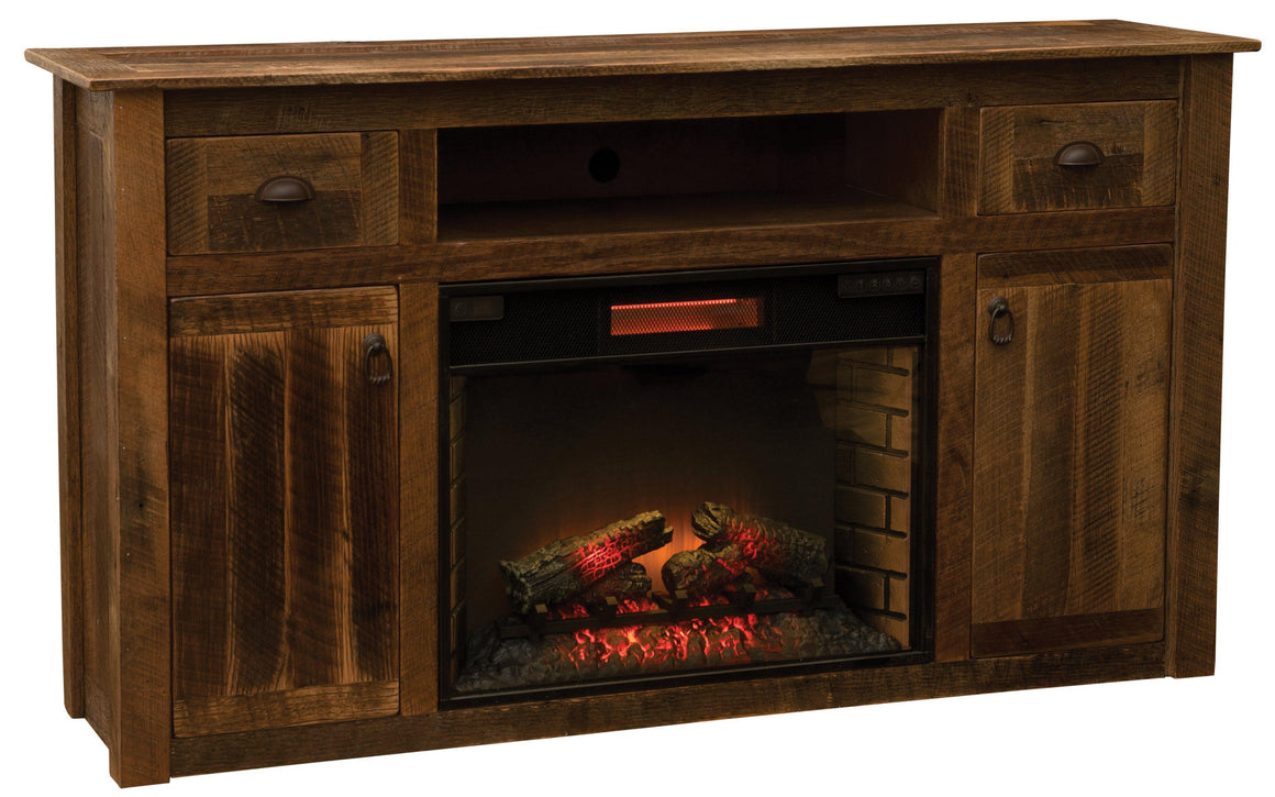 Barnwood Entertainment Center with Fireplace Antique Oak Barn Wood USA - Rustic Deco Incorporated