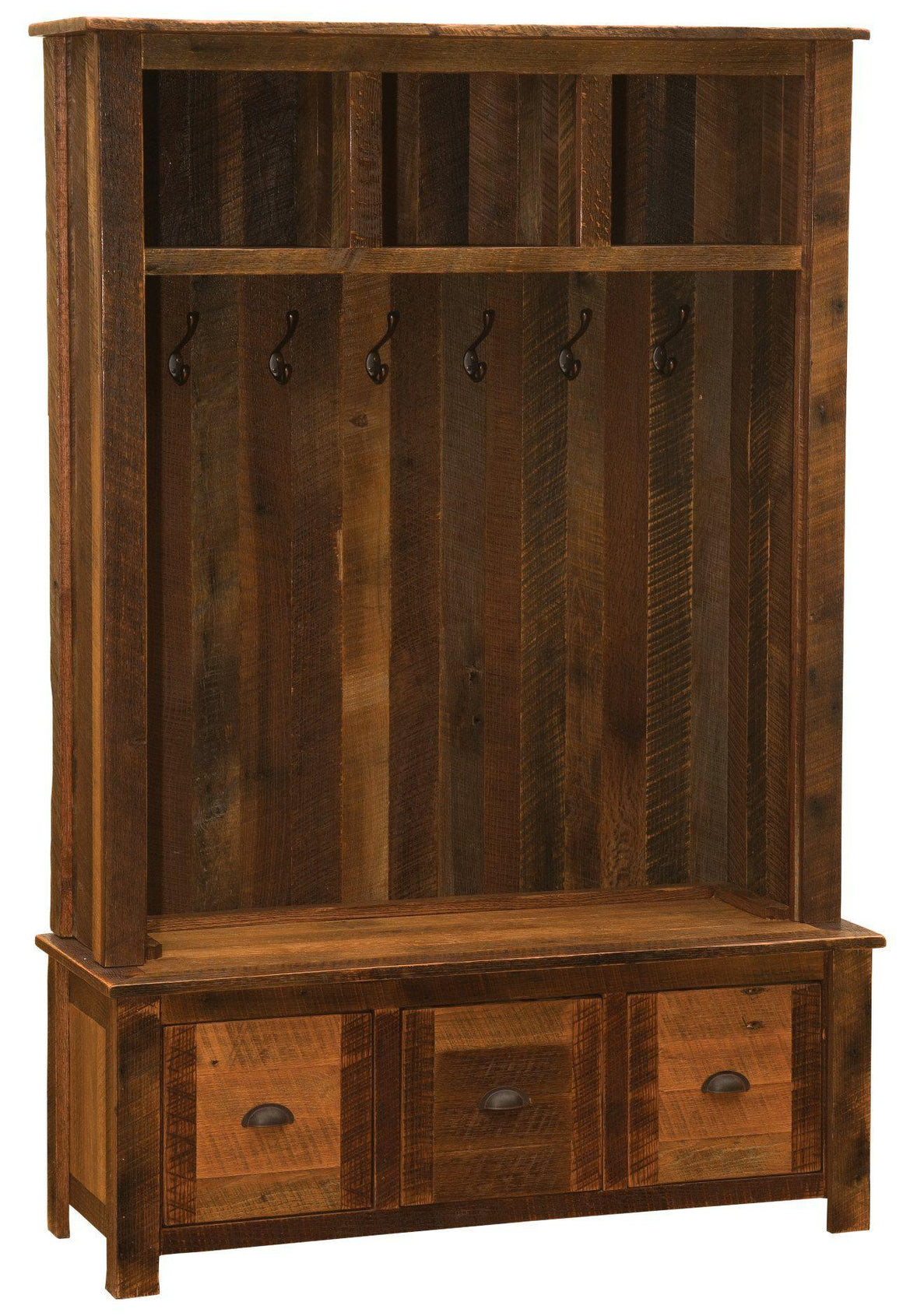 Barnwood Entry Locker Unit - Reclaimed Antique Oak Tobacco Barn Wood - Rustic Deco Incorporated