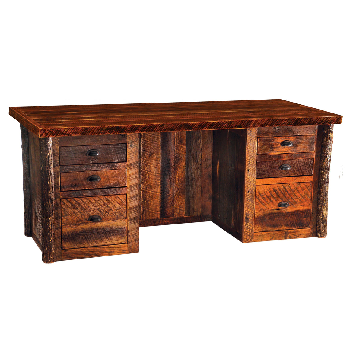 Barnwood Executive Desk - Barnwood Legs - Artisan Top and Antique Oak Top - Rustic Deco Incorporated