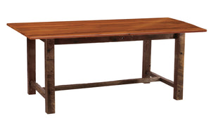 Barnwood Farmhouse Dining Table - 5, 6, 7, 8 Foot with  Antique Oak Top - Rustic Deco Incorporated