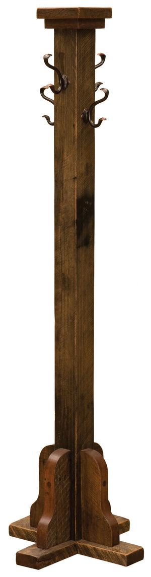 Reclaimed Antique Tobacco Barnwood Floor Coat Tree with Pegs Handmade - Rustic Deco Incorporated