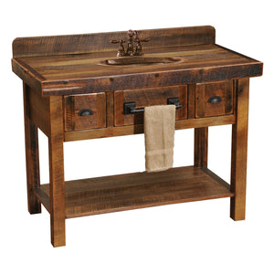 Barnwood Freestanding Open Vanity with Shelf and Two Drawers - Artisan Top-Rustic Deco Incorporated