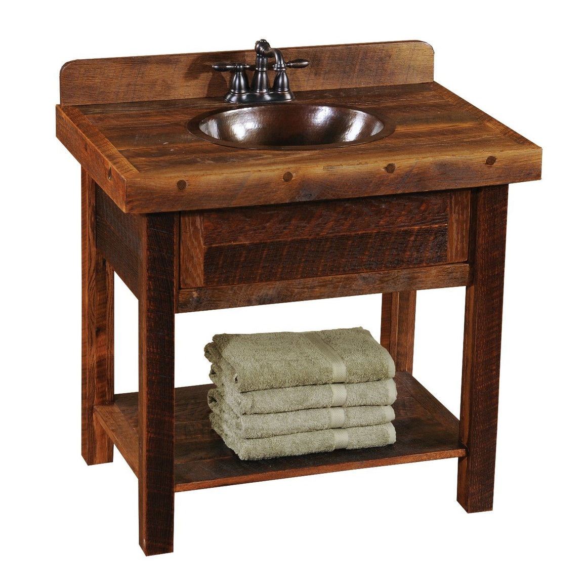 Barnwood Freestanding Open Vanity with Shelf - Artisan Top-Rustic Deco Incorporated