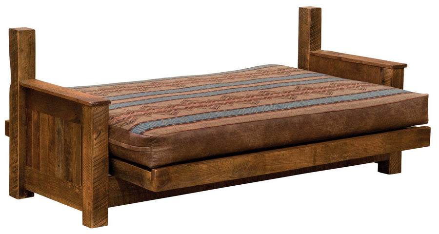 "Barnwood Futon with 8"" Inner-Spring Mattress - Able to be fully-unassembled-Rustic Deco Incorporated"