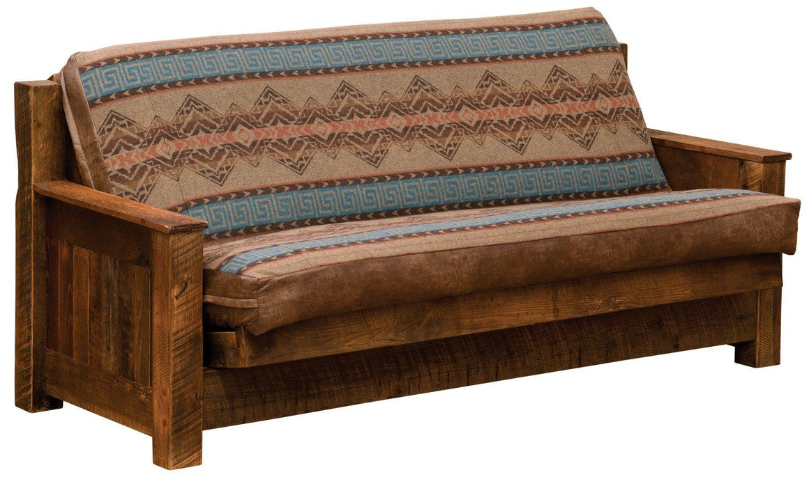 "Barnwood Futon with 8"" Inner-Spring Mattress - Able to be fully-unassembled - Rustic Deco Incorporated"