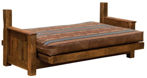 Barnwood Futon with Inner-Spring Mattress - Finished Assembly - Rustic Deco Incorporated