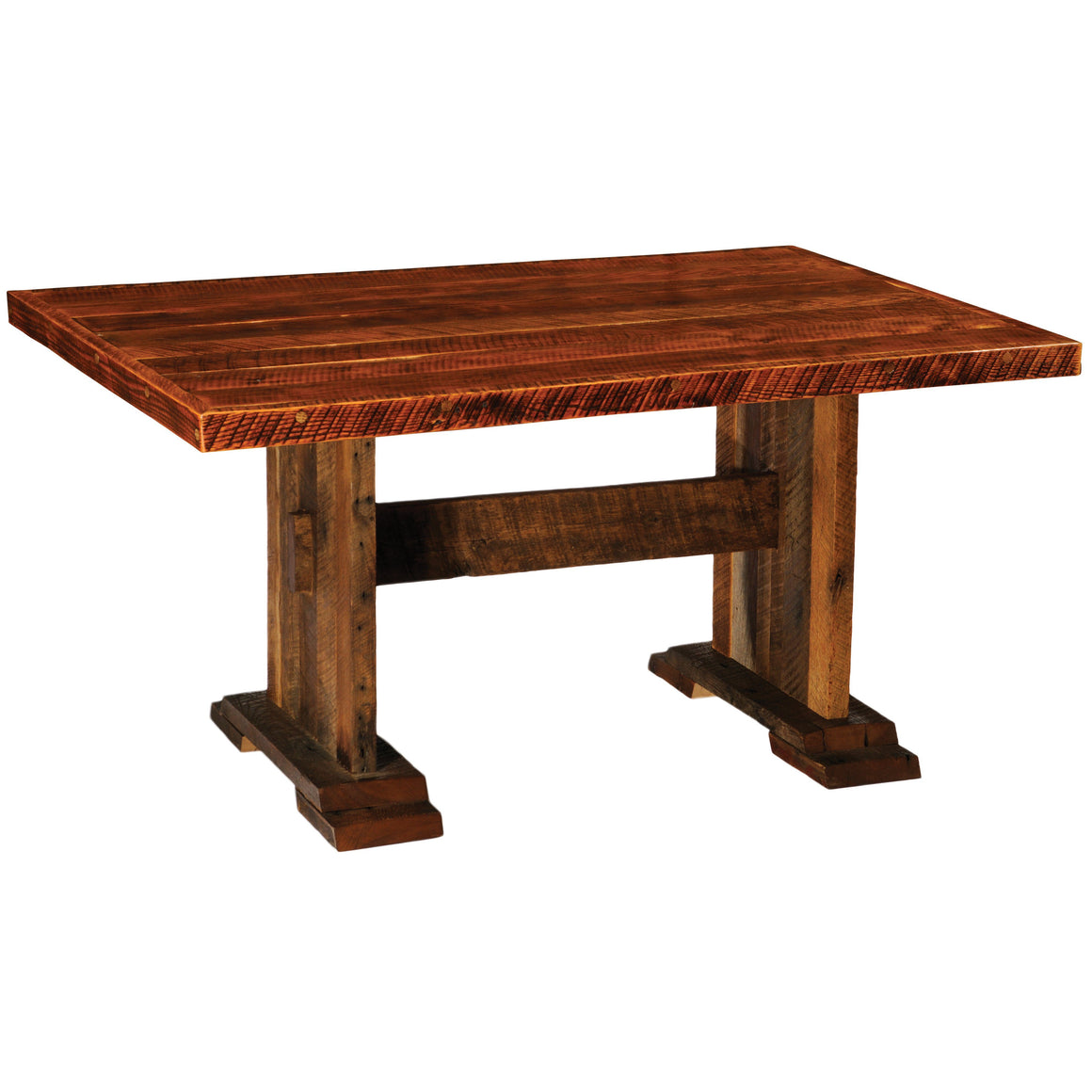 Barnwood Harvest Dining Table - 5, 6, 7, 8 Foot with  Artisan Top - Rustic Deco Incorporated
