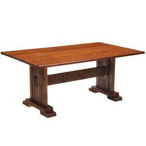 "Barnwood Harvest Dining Table - 5' with Antique Oak Top - 36""W - Rustic Deco Incorporated"