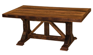 Barnwood Homestead Dining Table - Custom Top - Antique Oak Barn Wood - Rustic Deco Incorporated