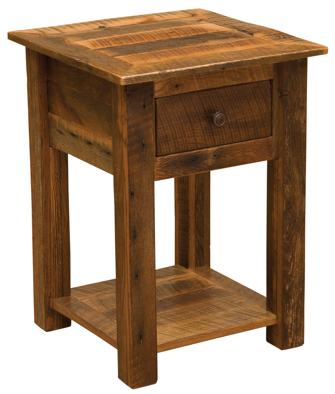 Barnwood One Drawer End Table with Open Shelf - Barnwood Legs - Rustic Deco Incorporated