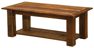 Authentic Barnwood Open Coffee Table with Shelf - Custom Sizes - USA - Rustic Deco Incorporated