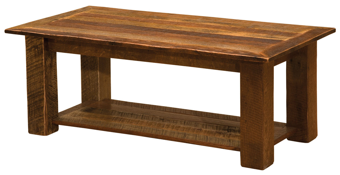 "Barnwood Open Coffee Table with Open Shelf - 20"" x 40"" - 24"" x 48"" and 24"" x 60"" - Rustic Deco Incorporated"
