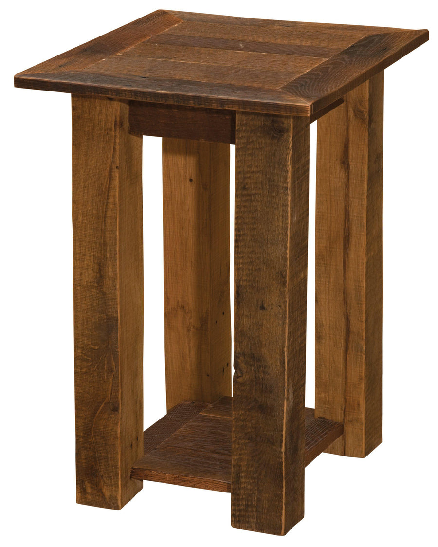 Barnwood Open End Table with Shelf - Barnwood Legs - Rustic Deco Incorporated