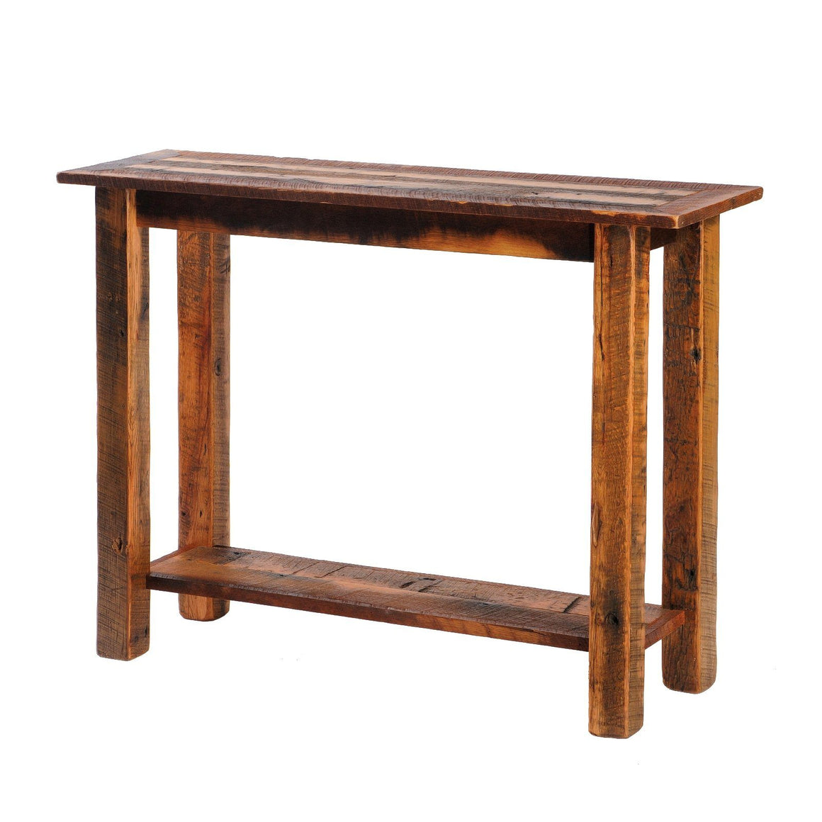 "Barnwood Open Sofa Table with Shelf - Reclaimed Antique Oak - 48"" - Rustic Deco Incorporated"