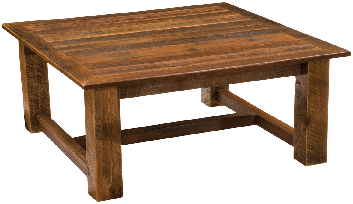 "Barnwood Open Square Coffee Table - 34"" x 34"" and 42"" x 42""-Rustic Deco Incorporated"