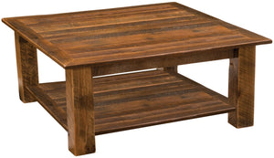"Barnwood Open Square Coffee Table with shelf - 34"" x 34"" and 42"" x 42""-Rustic Deco Incorporated"