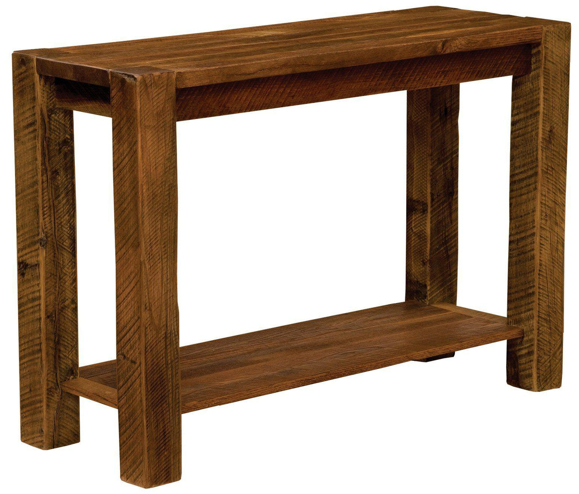 Authentic Tobacco Barn Wood Post Sofa Table - Rustic - Rustic Deco Incorporated