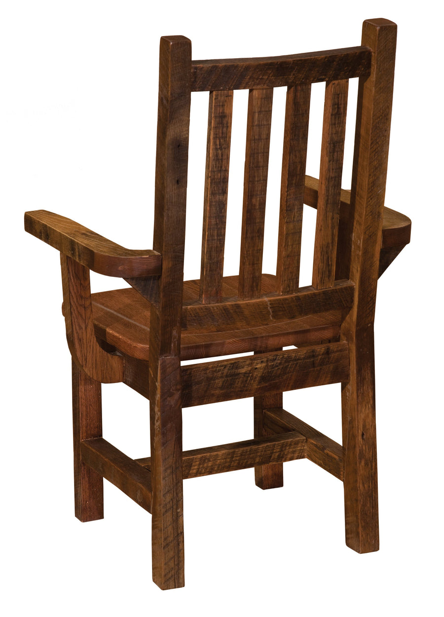 Barnwood Prairie Dining Arm Chair - Antique Oak Seat-Rustic Deco Incorporated