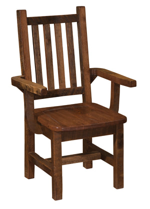 Barnwood Prairie Dining Arm Chair - Contoured Seat  - Standard Finish - Rustic Deco Incorporated