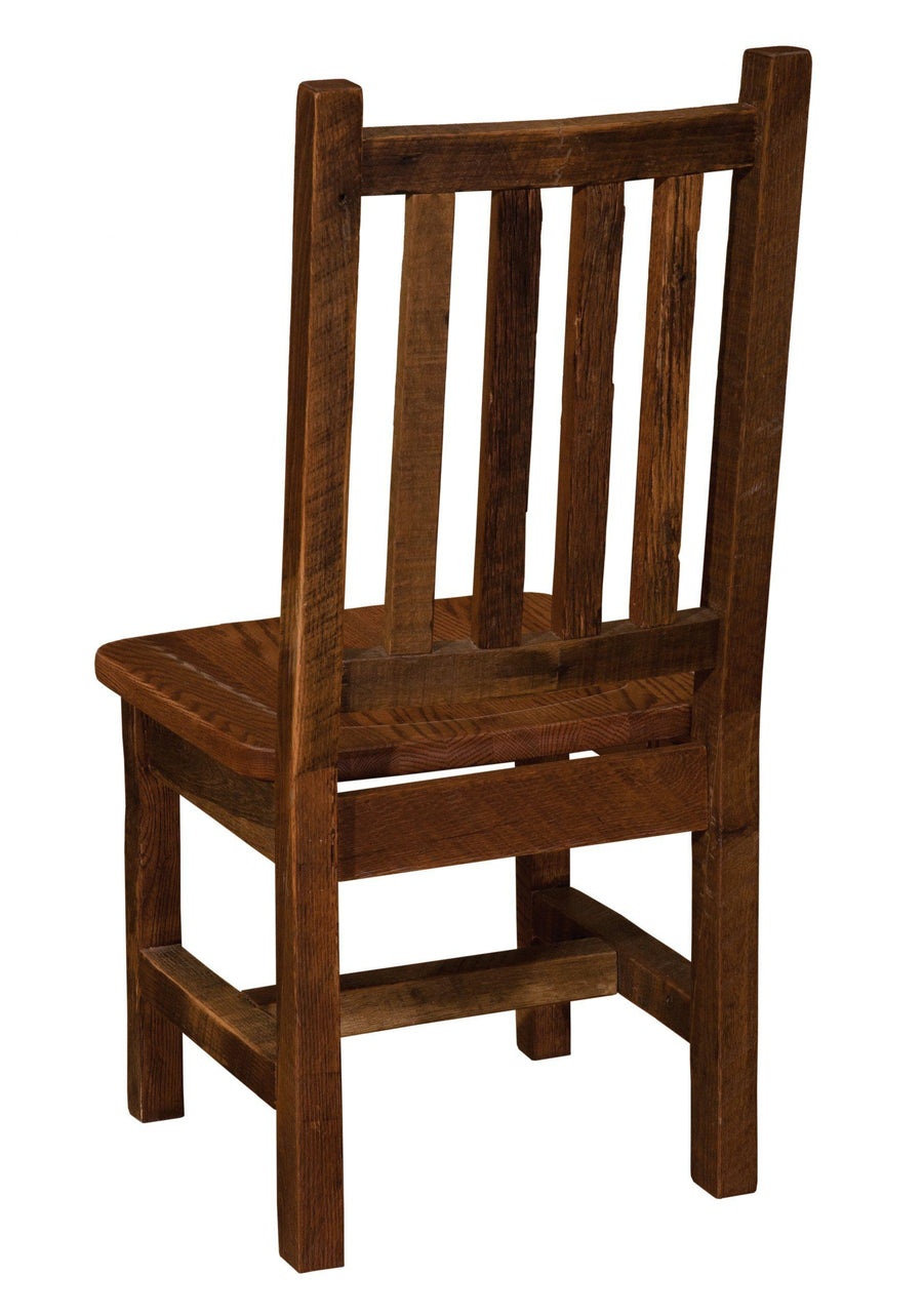 Barnwood Prairie Dining Side Chair - Antique Oak Seat - Rustic Deco Incorporated