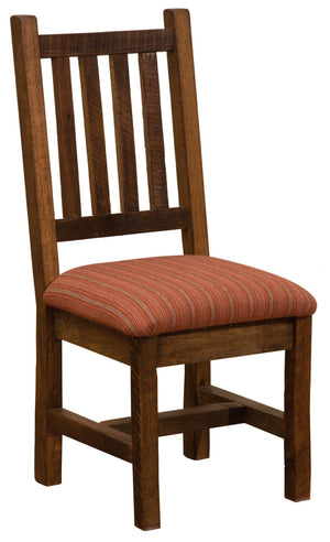 Barnwood Prairie Dining Side Chair - Upholstered Seat - Standard Finish-Rustic Deco Incorporated