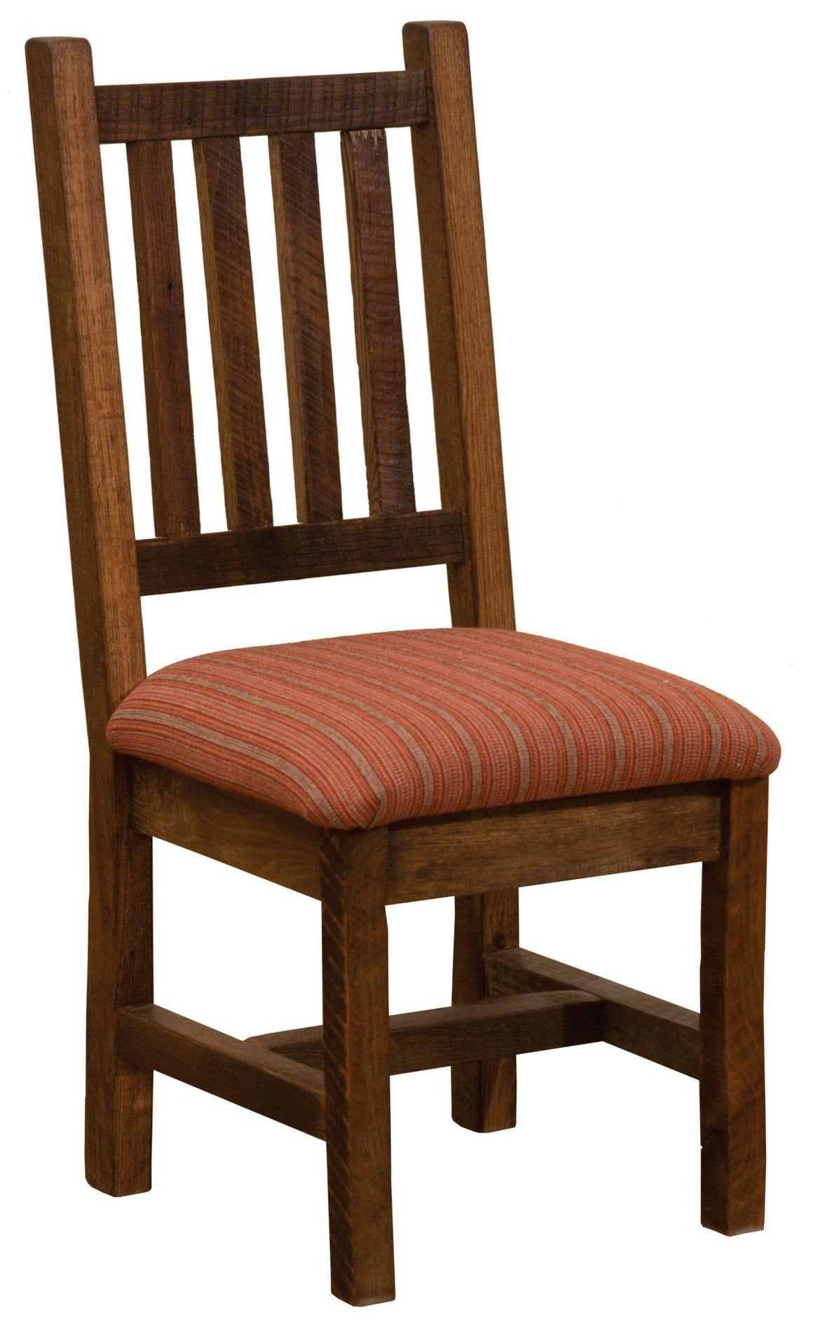 Barnwood Prairie Dining Side Chair -  Upholstered Seat - Standard Finish - Rustic Deco Incorporated