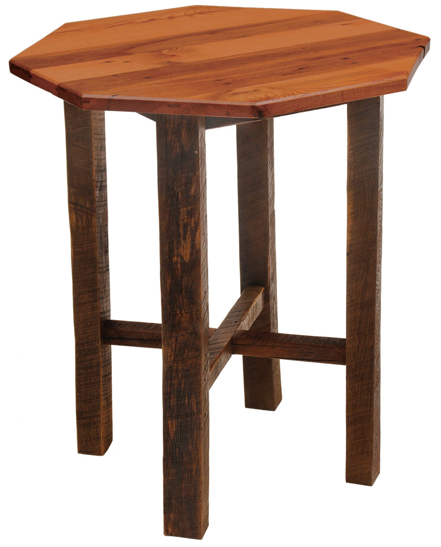 "Barnwood Pub Table - 36"" Octagon - Artisan Top and Antique Oak Top-Rustic Deco Incorporated"