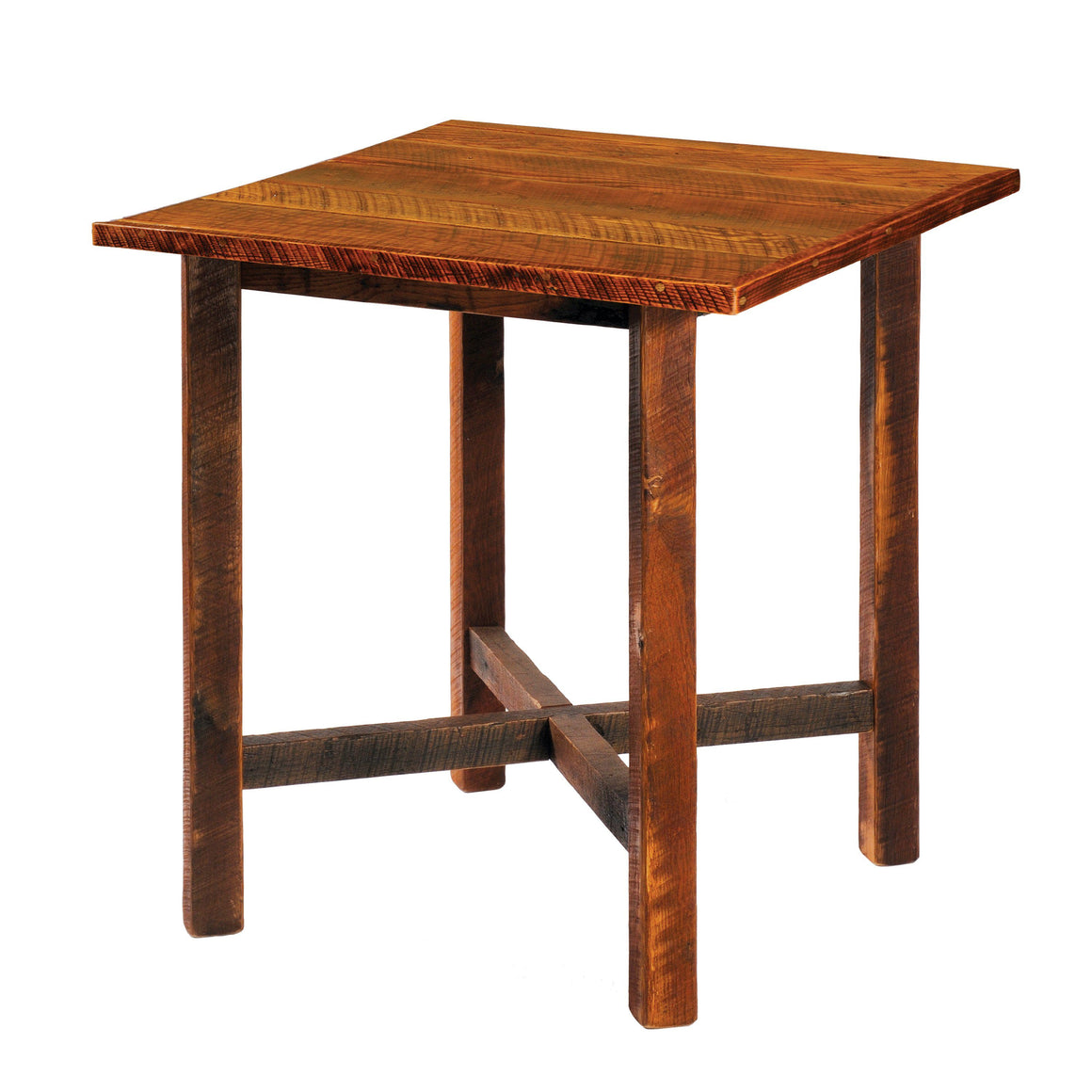 "Barnwood Pub Table - 40"" Square - Artisan Top and Antique Oak Top - Rustic Deco Incorporated"