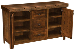 "Barnwood Sideboard - 60"" - Artisan Top and Antique Oak Top - Rustic Deco Incorporated"