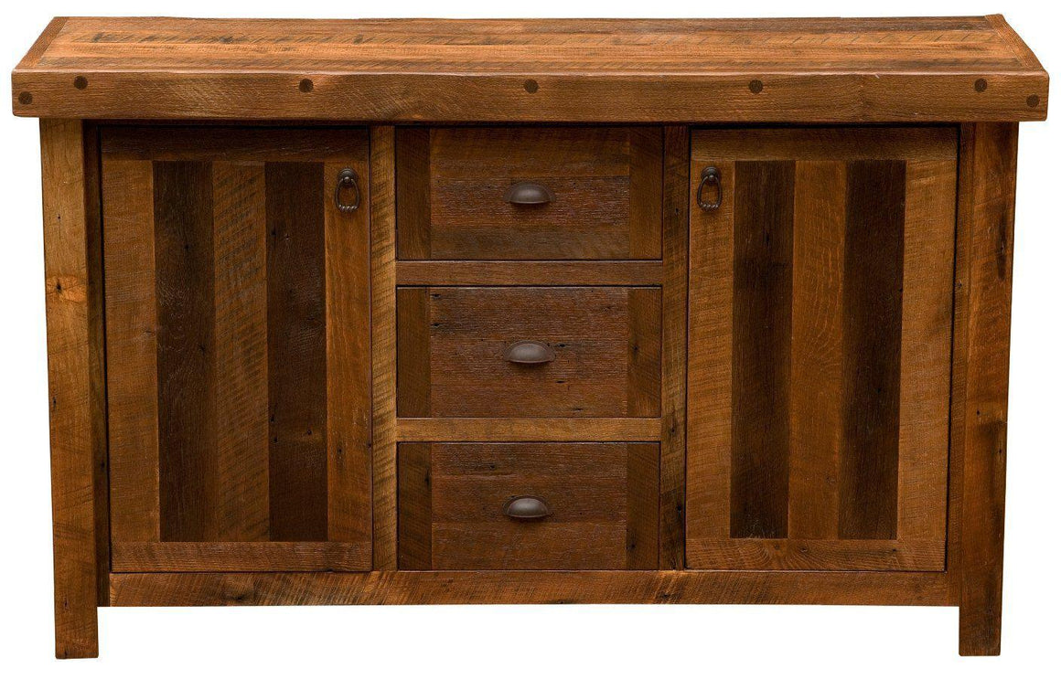 "Barnwood Sideboard - 60"" - Artisan Top and Antique Oak Top-Rustic Deco Incorporated"