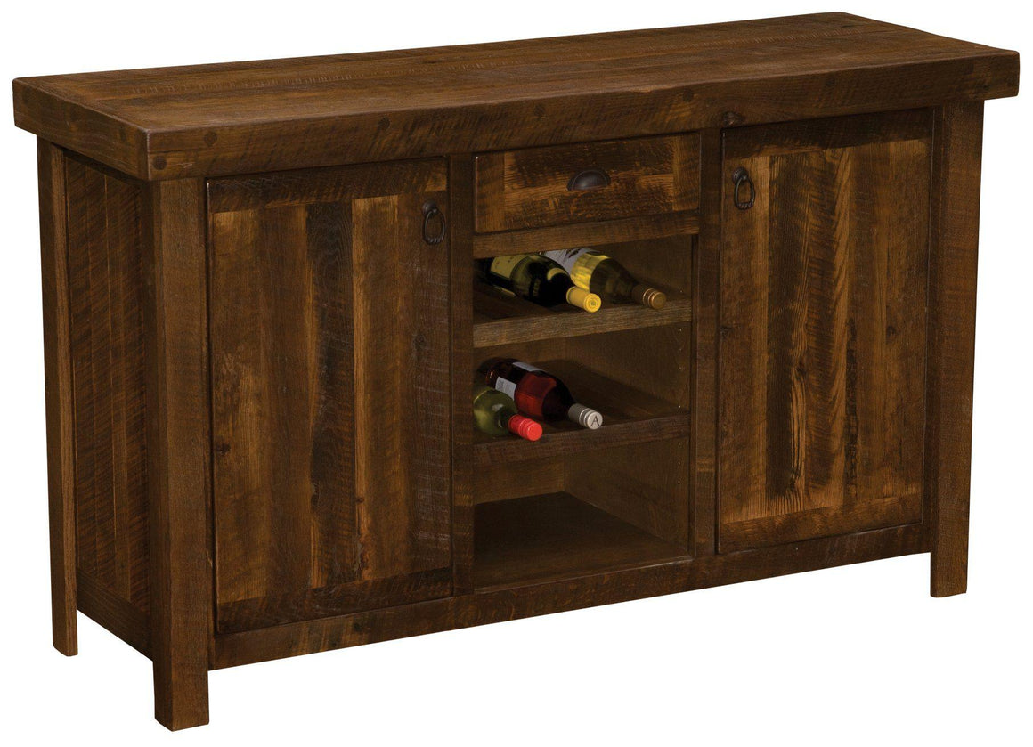 Barnwood Sideboard w/Wine Rack Shelves - Artisan Top or Antique Oak Top - Rustic Deco Incorporated