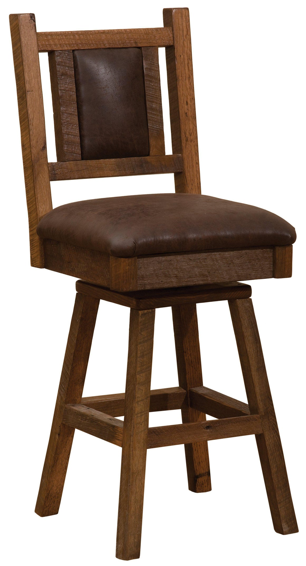 "Barnwood Swivel Upholstered Bar Stool with Back -  30"" Seat Height - Rustic Deco Incorporated"