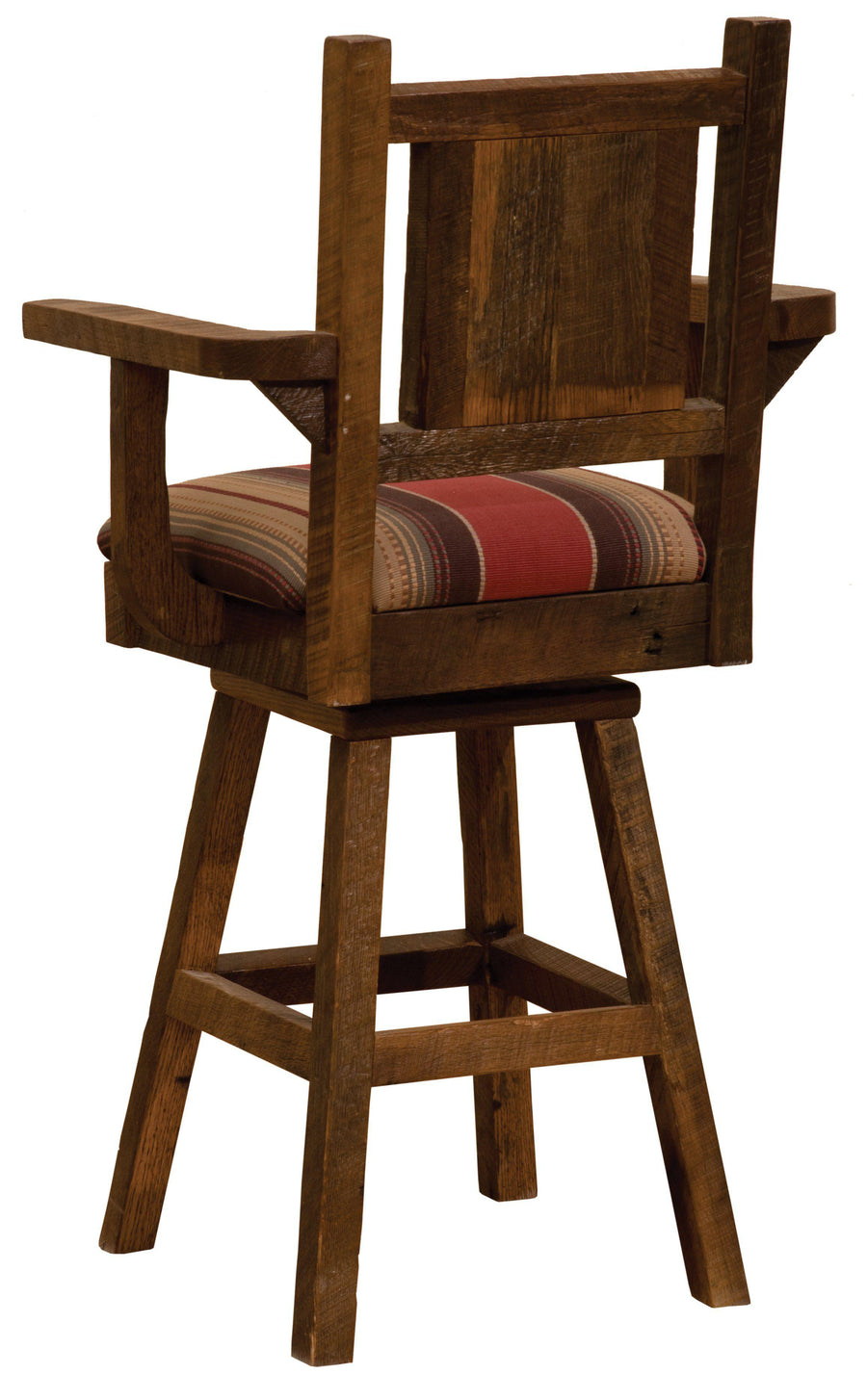 "Barnwood Swivel Upholstered Bar Stool with Back  and  Arms - 30"" Seat Height - Rustic Deco Incorporated"