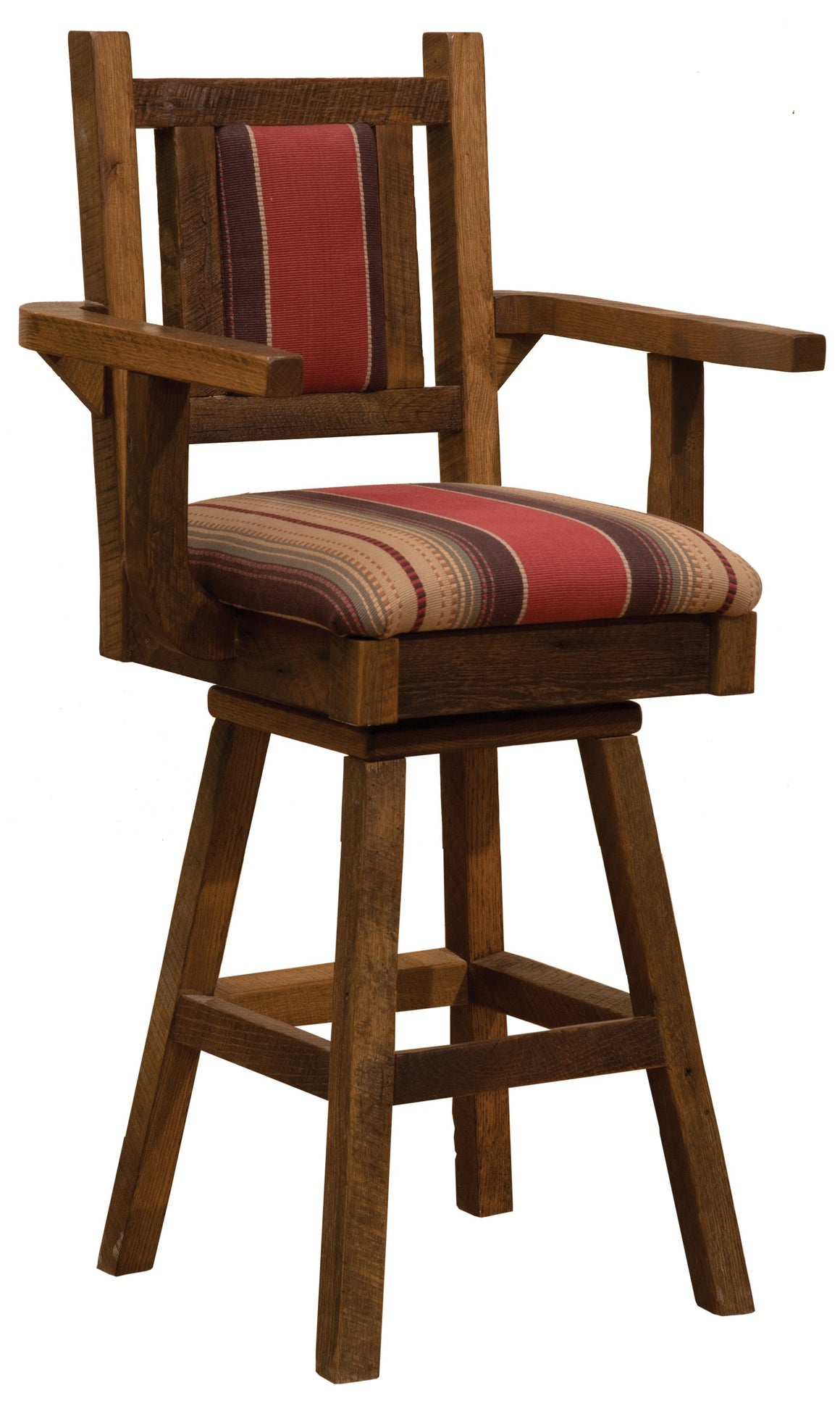 "Barnwood Swivel Upholstered Bar Stool with Back and Arms - 30"" Seat Height-Rustic Deco Incorporated"