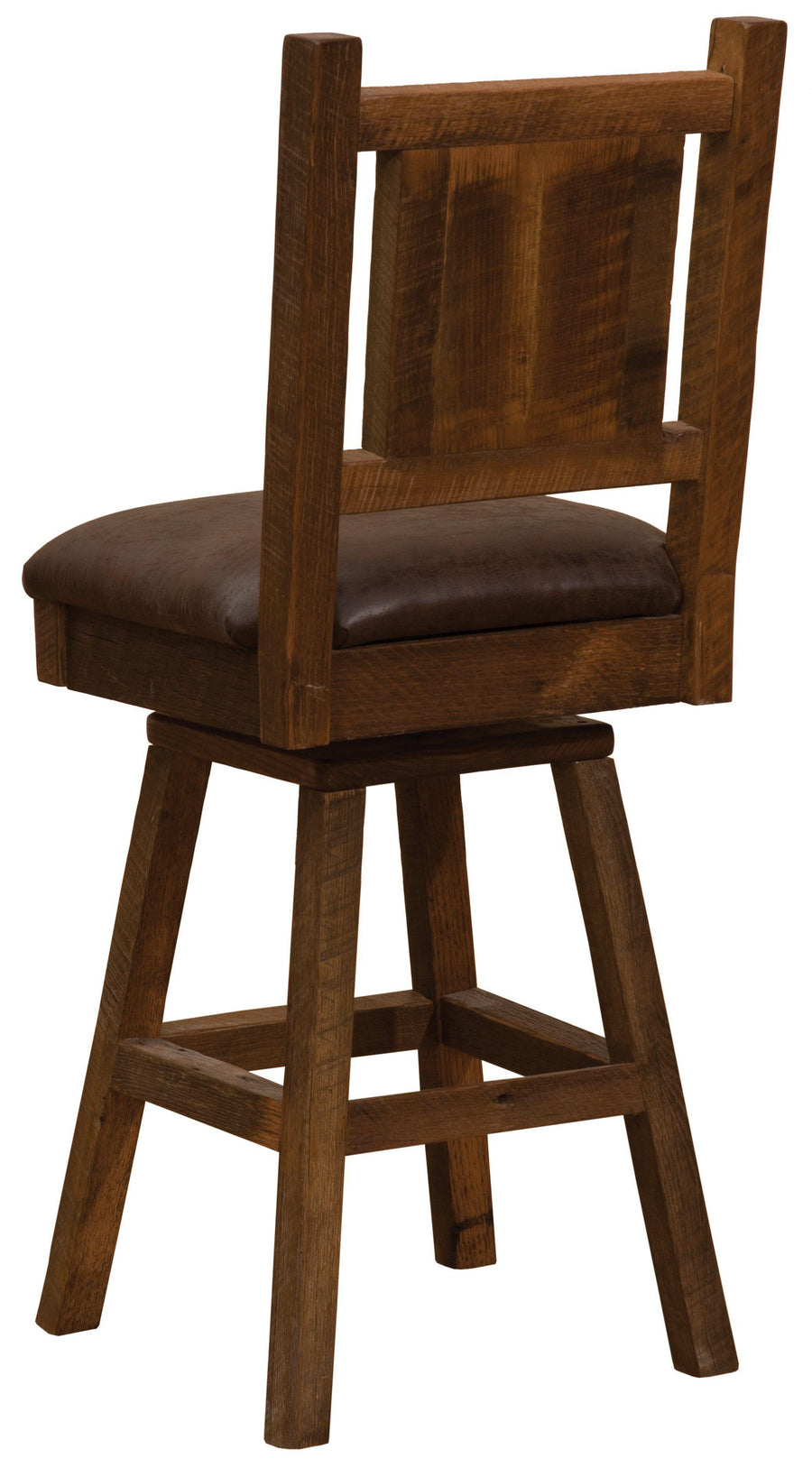 "Barnwood Swivel Upholstered Counter Stool with Back -  24"" Seat Height - Rustic Deco Incorporated"