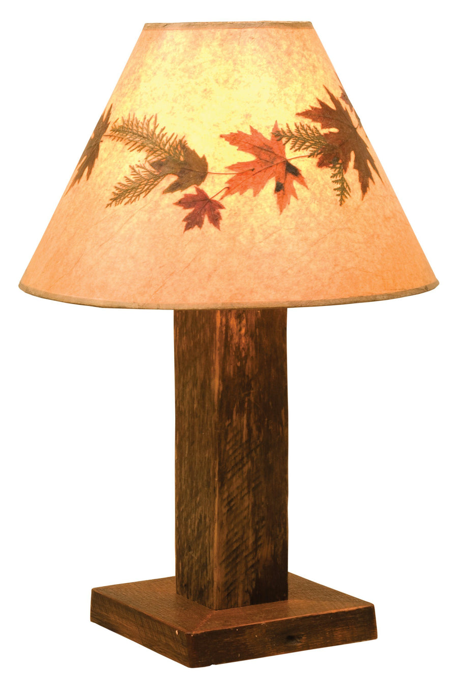 Barnwood Table Lamp - with Large Foliage Lamp Shade - Rustic Deco Incorporated