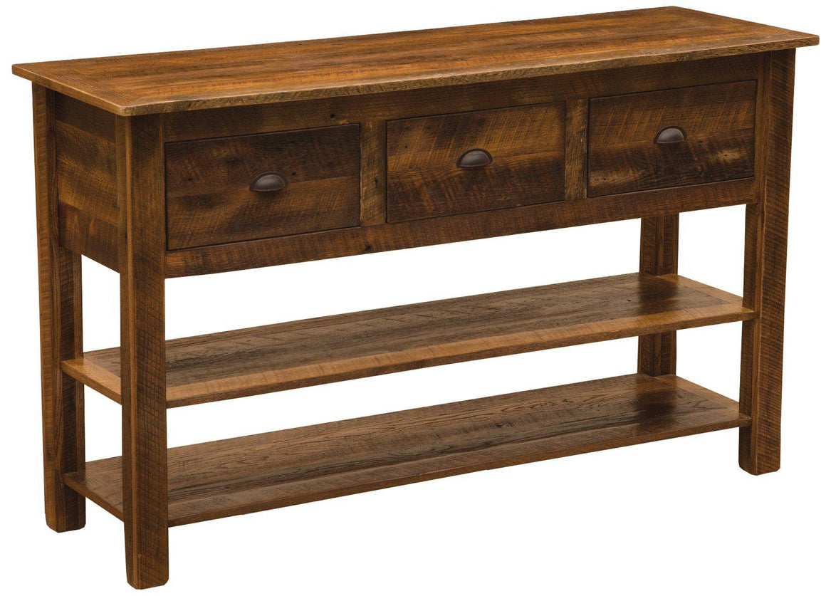 Barnwood Three Drawer Console Table with two shelves-Rustic Deco Incorporated