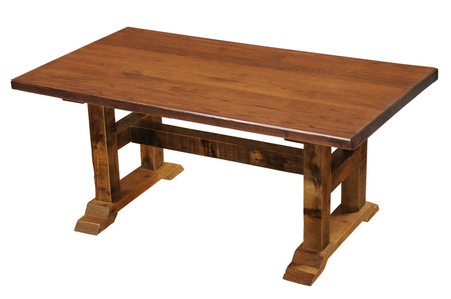 Barnwood Timbers Dining Table - 5, 6, 7, 8 Foot with  Antique Oak Top - Rustic Deco Incorporated