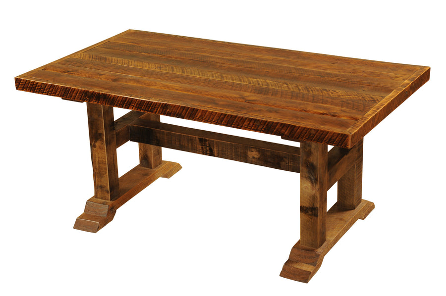 "Barnwood Timbers Dining Table - 60"" x 36"" - Antique Oak Top and Artisan Top - Rustic Deco Incorporated"