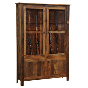 Barnwood Gun Cabinet - Reclaimed Antique Oak Tobacco Barn Wood for 12-Rustic Deco Incorporated