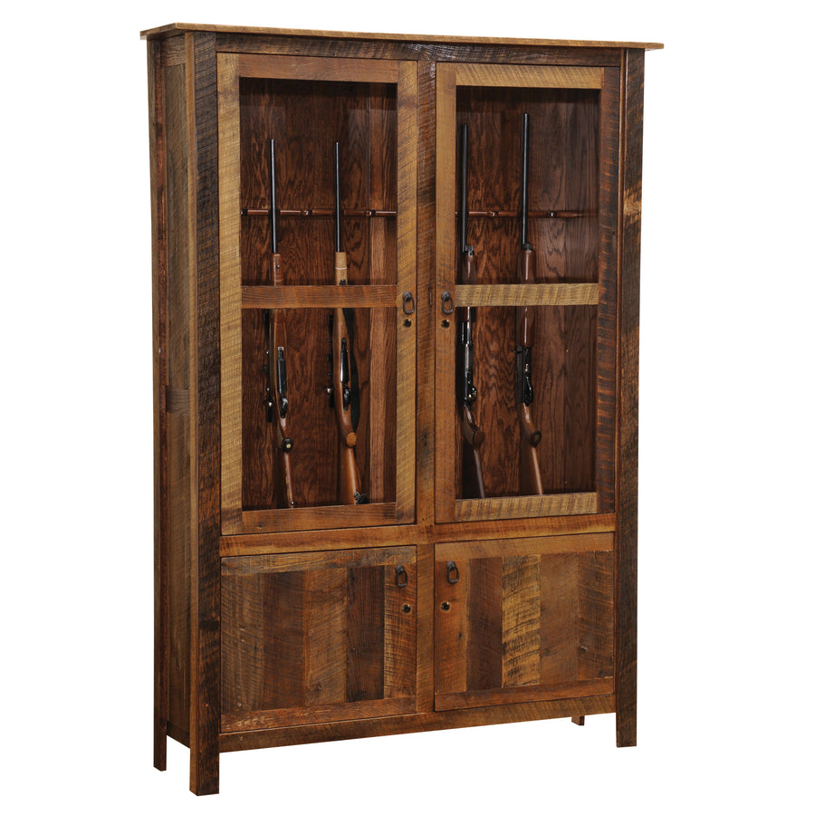 Barnwood Gun Cabinet - Reclaimed Antique Oak Tobacco Barn Wood for 12 - Rustic Deco Incorporated