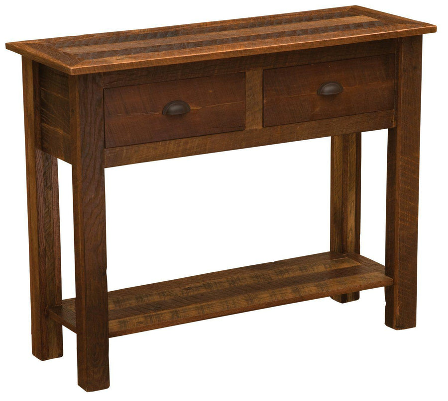 Barnwood Two Drawer Sofa Table - Barnwood Legs - Rustic Deco Incorporated