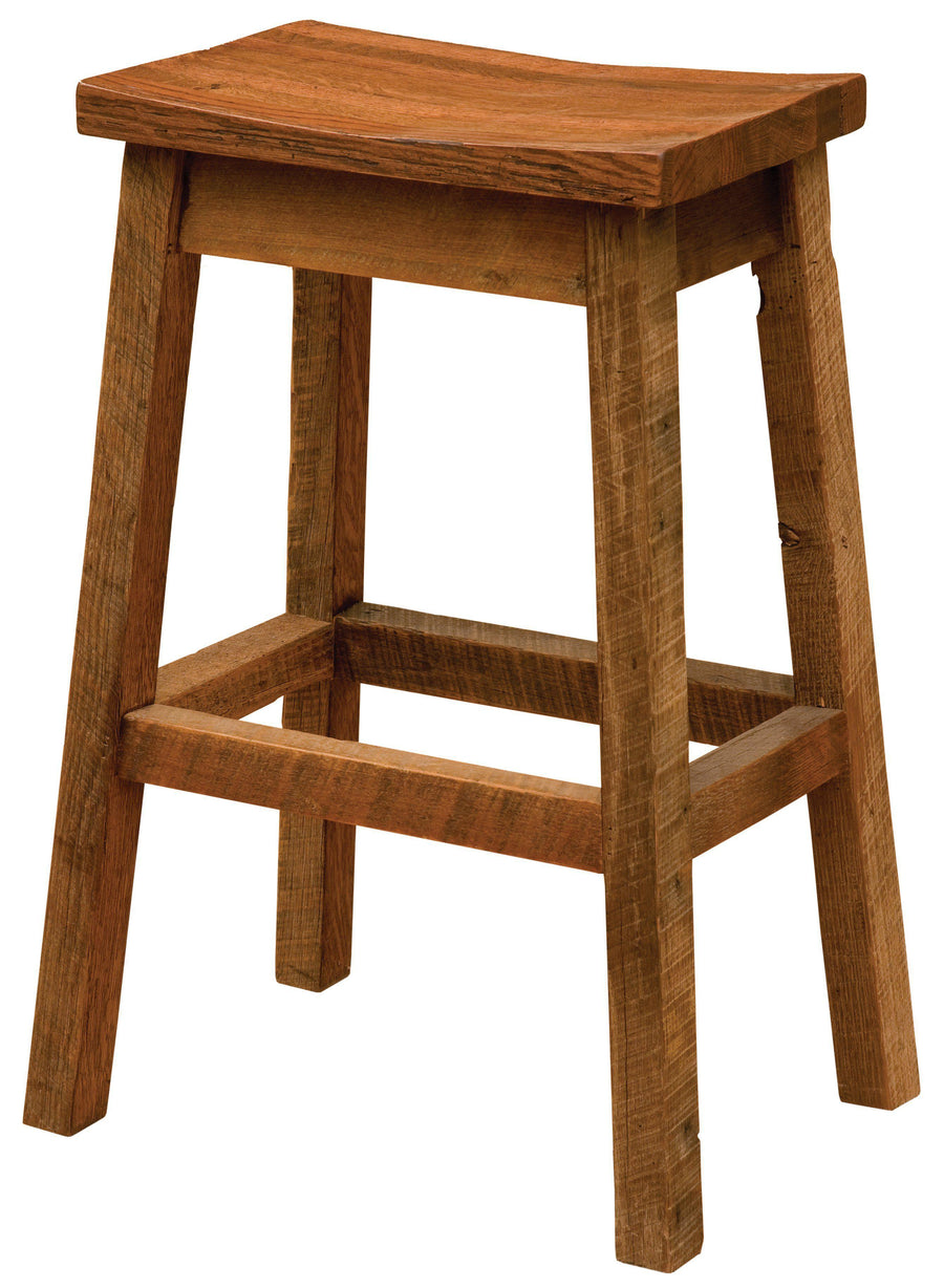 "Barnwood Upholstered Saddle Stool - 24"" Seat Height - Rustic Deco Incorporated"