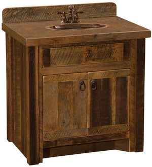 "Barnwood Vanity - 30"" without Top - Sink Center - Rustic Deco Incorporated"